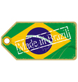 Vintage label with the flag of Brazil vector image vector image