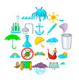 water channel icons set cartoon style vector image vector image