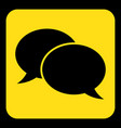 yellow black sign - two speech bubbles icon vector image vector image