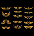 set of wings icons in golden style design vector image
