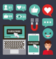 suscribe set icons avatar technology device view vector image