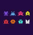 8 bit pixel arcade game alien invader superhero vector image