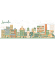 Abstract Luanda Skyline with Color Buildings vector image vector image