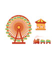 amusement park objects icon set vector image vector image