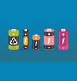 battery cylinder elements with lightning vector image vector image