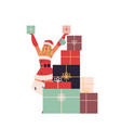 beautiful woman in santa claus costume holding vector image vector image