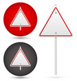 blank trianglular road sign vector image vector image