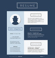 blue business themed resume template vector image vector image