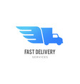 blue delivery logo truck with wings emblem vector image