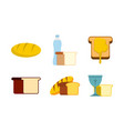 bread icon set flat style vector image