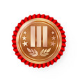 bronze 3st place rosette badge medal vector image vector image