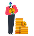 businessman and coins stack finance and banking vector image