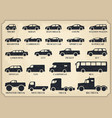 car type icons set black vintage vector image