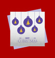 christmas card with balls and purple balls vector image