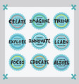 cute blue positive inspirational sticker icon set vector image vector image