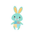 cute light blue bunny soft plush toy stuffed vector image vector image