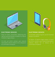 electronic devices laptop and headphones tablet vector image vector image