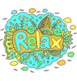 graphic art with mandala and relax word doodle vector image vector image