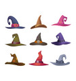 halloween hat cap for witch scary symbols vector image