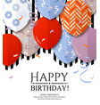 happy birthday greeting card with balloons vector image vector image
