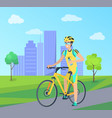 happy sportsman with blue bottle on yellow bike vector image vector image