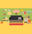 home workplace flat design workspace for vector image vector image