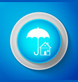 house with umbrella icon real estate insurance vector image
