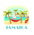 jamaica beach and ocean coastline with palms vector image