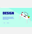 light isometric freelancer workplace poster vector image vector image
