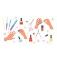 manicure set red nail polish finger nail file vector image