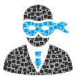 masked thief mosaic of squares and circles vector image