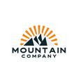 mountain and sun hipster logo design vector image