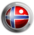 norway flag on round badge vector image vector image
