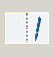 open notebook with blue pen vector image