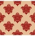 Ornate maroon damask style seamless pattern vector image