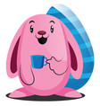 pink easter rabbit holding a cup web on a white vector image