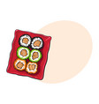 plate of japanese sushi rolls sketch style vector image vector image
