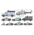 police car policy vehicle or helicopter and vector image vector image