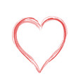 red heart hand drawn like love symbol on white vector image vector image