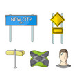 road signs and other web icon in cartoon style vector image