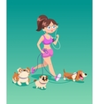 Running woman with dogs vector image