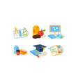 school icons set different school supplies vector image vector image