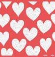 seamless pattern white doodle hearts with black vector image