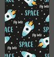 seamless pattern with cartoon space rockets and vector image