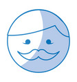 shadow round moustache man face cartoon vector image