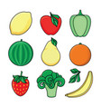sketch style fresh fruits vegetables set vector image vector image