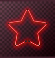 star-shaped bright red neon frame template on vector image