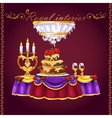 Table with two glasses of wine cake and candles vector image vector image
