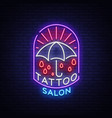 tattoo salon logo in a neon style neon sign vector image vector image