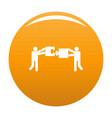 teamwork with puzzle icon orange vector image